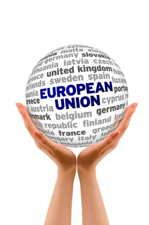 sphere: Hands holding a 3d European Union Word Sphere.  Stock Photo
