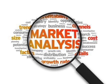 Magnified ilustración con el análisis del mercado palabra sobre fondo blanco.