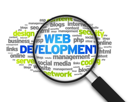 web: Magnified illustration with the word Web Development on white background.