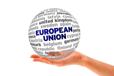 england politics: Hand holding a European Union Word Sphere on white background.