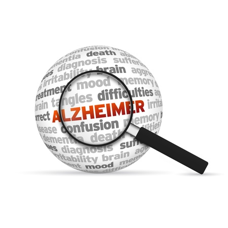 brain aging: Alzheimer 3d Word Sphere with magnifying glass on white background.
