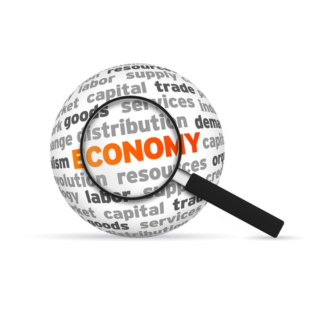 Economy 3d Word Sphere with magnifying glass on white background. photo
