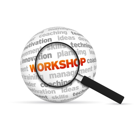Workshop 3d Word Sphere with magnifying glass on white background. photo