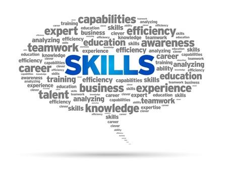Skills Word speech bubble illustration on white background.