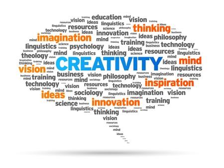 マンガの吹き出し: 創造性の単語音声バブル イラスト白い背景の上。  イラスト・ベクター素材
