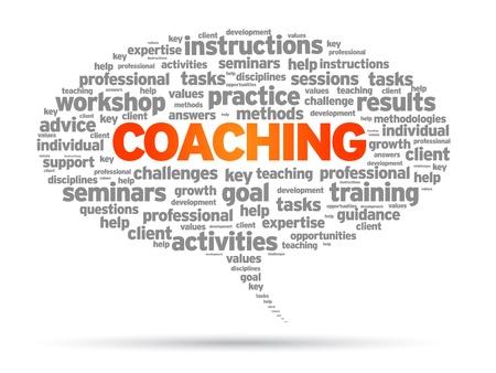 disciplines: Coaching woord tekstballon illustratie op witte achtergrond.