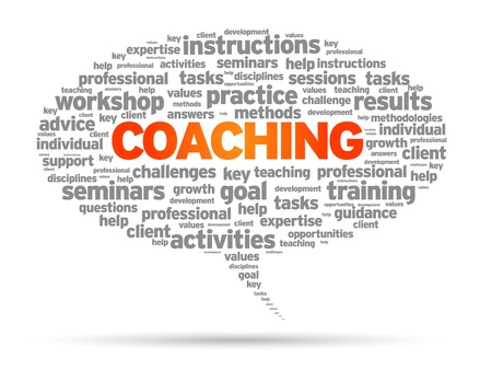 mentor: Coaching word speech bubble illustration on white background.  Illustration