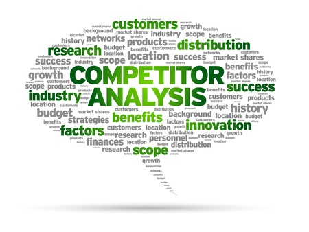 競合他社分析単語音声バブル図は白い背景の上。