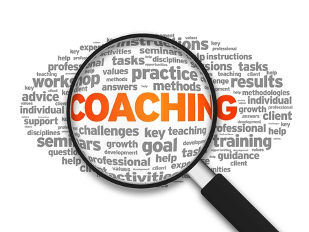 focus on the goal: Magnified illustration with the word Coaching on white background. Stock Photo