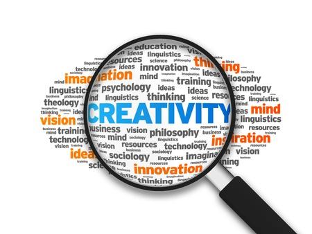sociologia: Magnified ilustración con la palabra creatividad en el fondo blanco. Foto de archivo