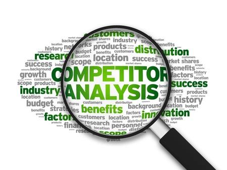 Vergrote illustratie met het woord Concurrentie Analyse op een witte achtergrond.