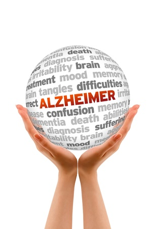 dementia: Hands holding a Alzheimer Word Sphere sign on white background.