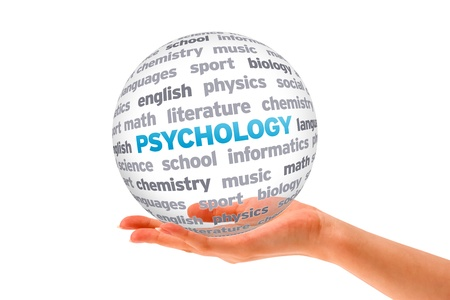 Hand holding a Psychology Word Sphere on white background.  Stock Photo
