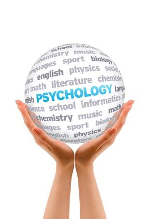 psicologia: Manos que sostienen una palabra Psicología signo Esfera sobre fondo blanco.