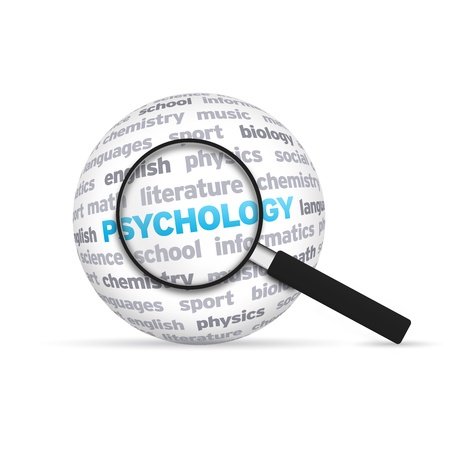Psychology 3d Sphere with magnifying glass on white background.