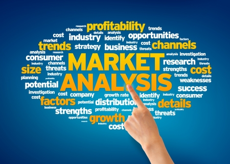 Hand pointing at a Market Analysis Word Cloud on blue background. Stock Photo - 14841131