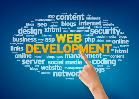 web marketing: Hand pointing at a Web Development Word Cloud on blue background.