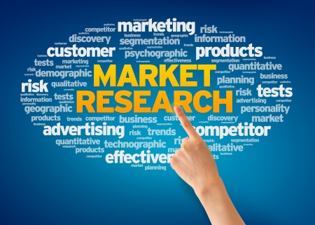 Hand pointing at a Market Research Word Cloud on blue background. photo