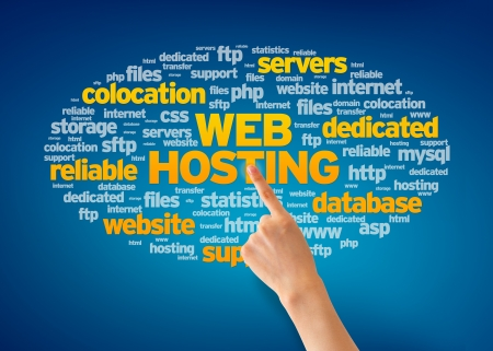 colocation: Hand pointing at a Web Hosting Word Cloud on blue background.