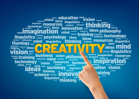 thoughts: Hand pointing at a Creativity Word Cloud on blue background. Stock Photo