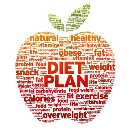 흰색 배경에 다이어트 계획 애플 워드 그림.