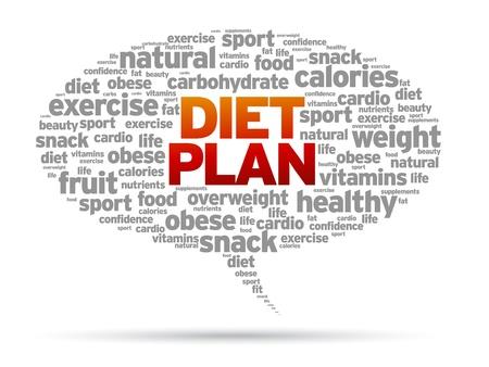 マンガの吹き出し: ダイエット計画の単語音声バブル図は白い背景の上。