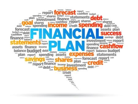 マンガの吹き出し: 金融プランの単語音声バブル イラスト白い背景の上。