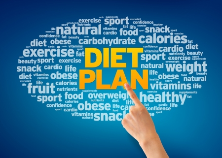 Hand pointing at a Diet Plan Word Cloud on blue background. photo