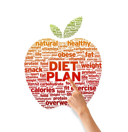 nutrition health: Hand pointing at a Diet Plan Word illustration on white background.