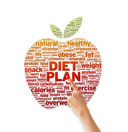 nutrientes: Mano que señala en una ilustración Diet Plan de Word sobre fondo blanco. Foto de archivo