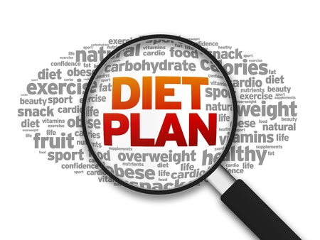 diet plan: Magnified illustration with the word Diet Plan on white background.