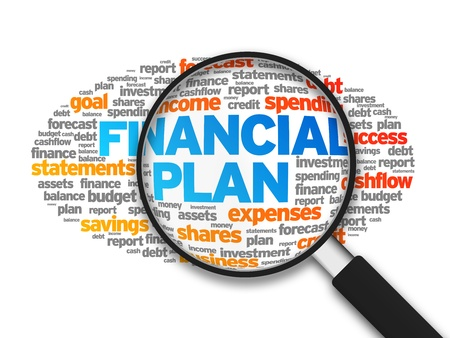 cashflow: Magnified illustration with the word Financial Plan on white background. Stock Photo