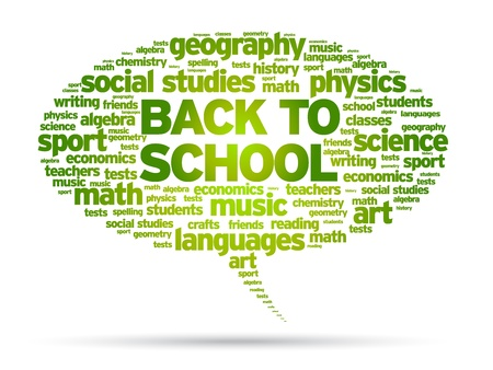 Back To School word speech bubble illustration on white background.  Vector