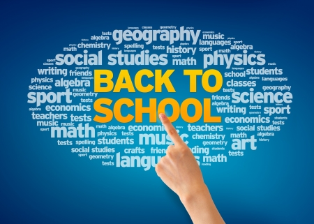 Hand pointing at a Back To School Word Cloud on blue background. photo