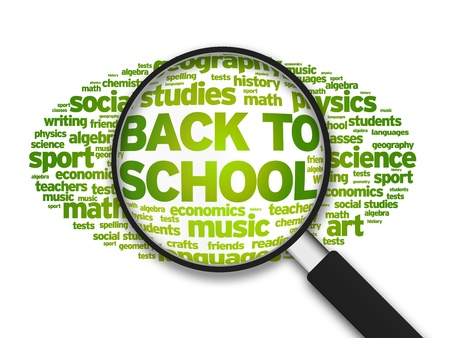 Magnified illustration with the word Back To School Analysis on white background. illustration