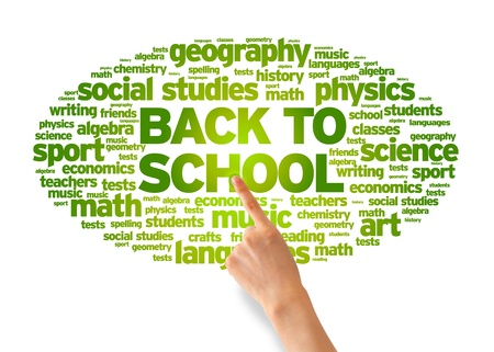 Hand pointing at a Back To School Word Cloud on white background. photo