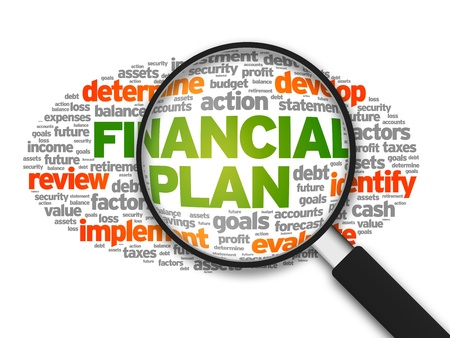 Magnified illustration with the words Financial Plan on white background.