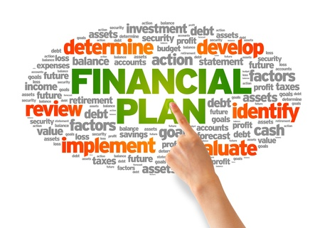 cash flow statement: Hand pointing at a Financial Plan Word Illustration on white background.
