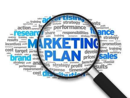 白い背景の上の単語のマーケティング計画の拡大図。