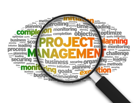 project: Magnified illustration with the words Project Management on white background.