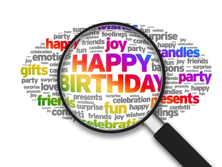 Magnified illustration with the words Happy Birthday on white background.