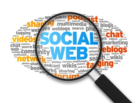 wikis: Magnified illustration with the words Social Web on white background.