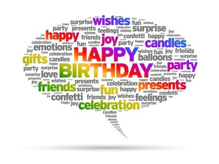 Happy Birthday speech bubble illustration on white background.  Vector