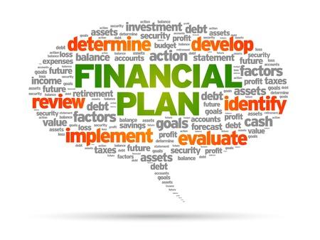 Plan Financiero discurso burbuja ilustración sobre fondo blanco.