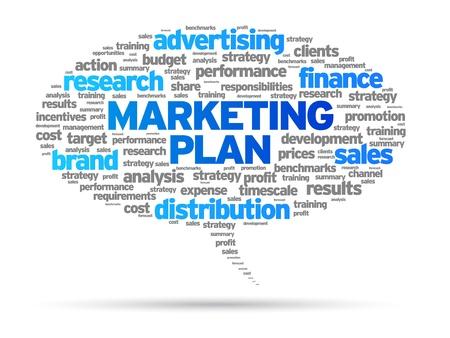 Plan de Marketing discurso burbuja ilustración sobre fondo blanco.
