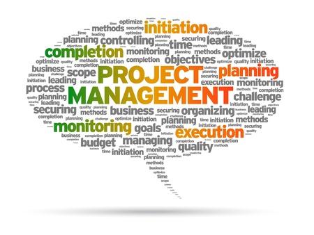 piano di progetto: Project Management bolla discorso illustrazione su sfondo bianco.