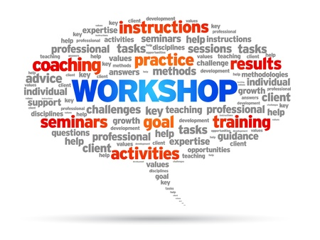 workshop seminar: Workshop speech bubble illustration on white background.