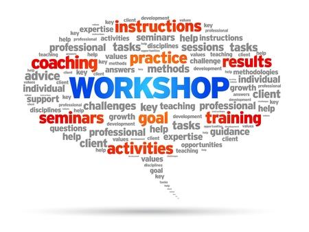 persoonlijke groei: Workshop tekstballon illustratie op witte achtergrond.