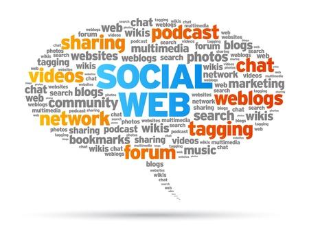 wikis: Social Web speech bubble illustration on white background.