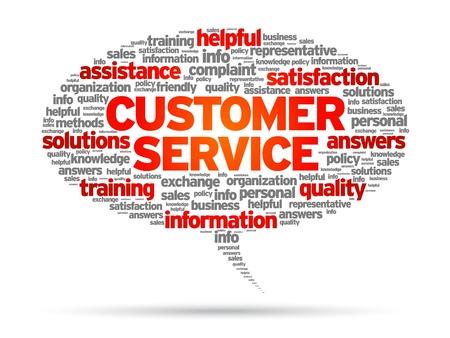 aide à la personne: Service à la clientèle bulle illustration sur fond blanc.